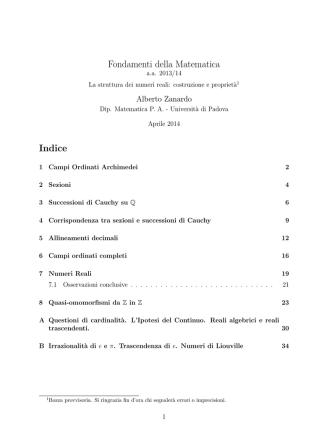 Alberto Zanardo, Costruzione della struttura dei Numeri Reali