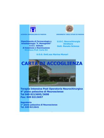 Carta di Accoglienza Terapia Intensiva Post Operatoria Neurochirurgia