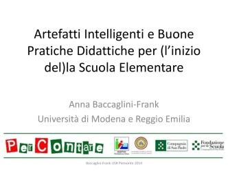 Artefatti Intelligenti e Buone Pratiche Didattiche per (l