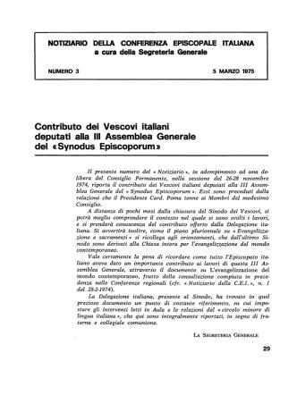 Contributo dei Vescovi italiani deputati alla III Assemblea Generale