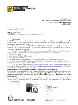 Conferimento incarico APE - Collegio Provinciale Geometri e