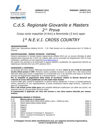 CdS Regionale Giovanile e Masters 2^ Prova