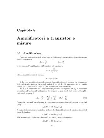 Amplificatori a transistor e misure - Centro Didattico di Calcolo