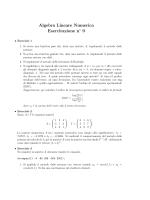 Algebra Lineare Numerica Esercitazione n 9