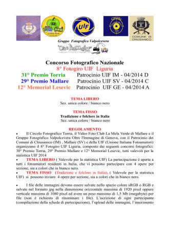 2014 Circuito UIF bando - Circolo Fotografico Torria