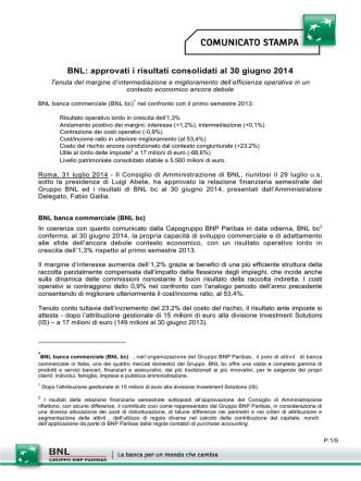 BNL: approvati i risultati consolidati al 30 giugno 2014