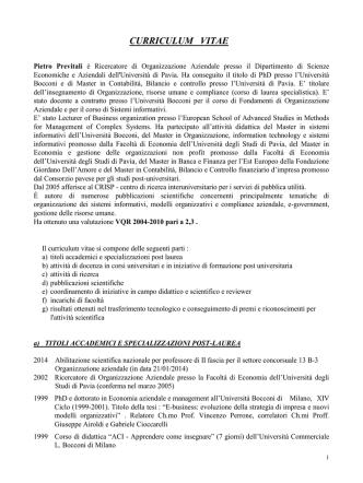 CV - Economia - Università degli studi di Pavia