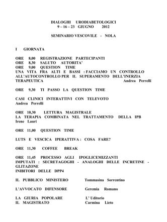 16 – 23 giugno 2012 seminario vescovile - nola i