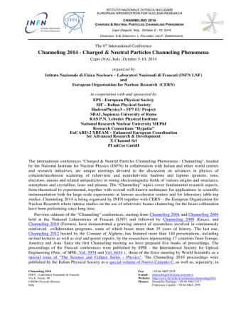 Channeling 2014 - Laboratori Nazionali di Frascati