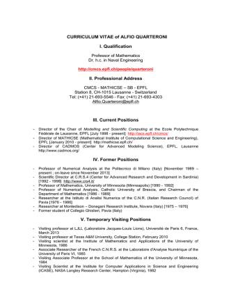 CURRICULUM VITAE of ALFIO QUARTERONI I - CMCS