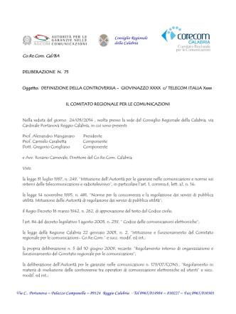 Delibera n. 75/2014 - Corecom - Consiglio regionale della Calabria