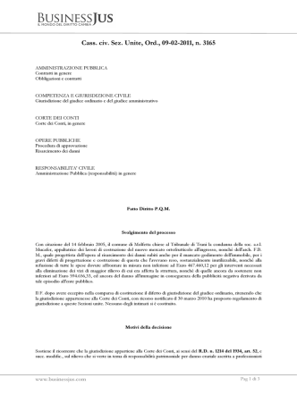 Cass. civ. Sez. Unite, Ord., 09-02-2011, n. 3165