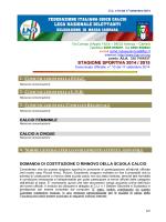 STAGIONE SPORTIVA 2014 / 2015
