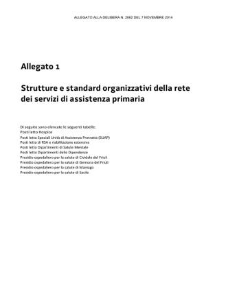 Allegato 1 Strutture e standard organizzativi della rete dei servizi di
