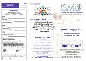 Biotipology 2014 - Società Italiana di Omeopatia e Medicina Integrata