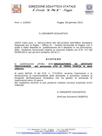 Decreto - 8° Circolo Didattico San Pio X Foggia Infanzia e primaria