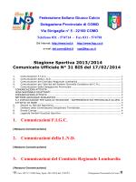 Comunicato ufficiale N.31 BIS