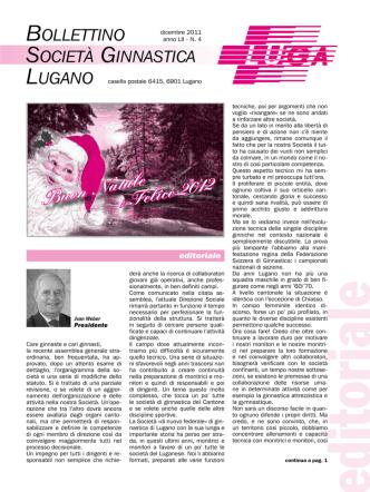 Buon Natale e Felice 2012 - Società ginnastica Lugano