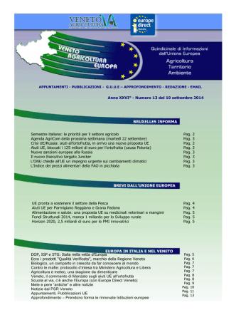 Anno XXVI° - Numero 13 del 19 settembre 2014 UE pronta a