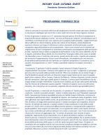Programma febbraio 2014 - Rotary Club Catania Ovest