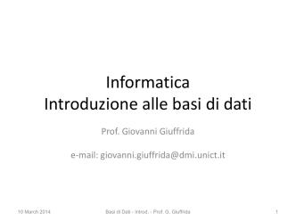 DATABASE I - Dipartimento di Matematica e Informatica