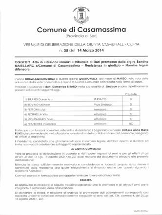 delibera n.35 - Comune di Casamassima