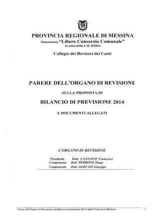 1) Parere Organo di Revisione - Provincia Regionale di Messina