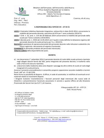 Decreto - Centro servizi amministrativi di Cosenza