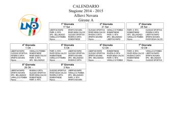 Calendario Allievi e GIovanissimi 14-15