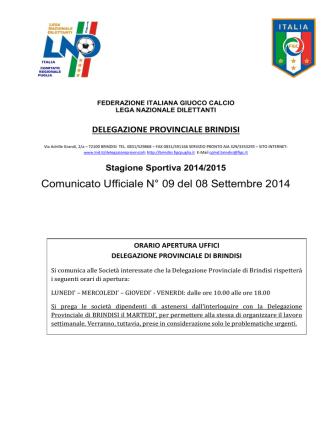Comunicato Ufficiale n° 09 del 08.09.2014