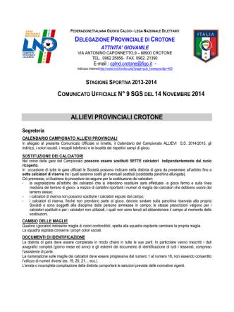 Calendario Allievi provinciali 2014-2015
