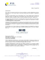Comunicazione fusione FIS e Antex - Fis, servizi amministrativi