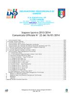 Comunicato Ufficiale N° 22 del 16/01/2014