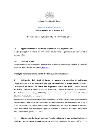 Consiglio di Amministrazione del 25 febbraio 2014