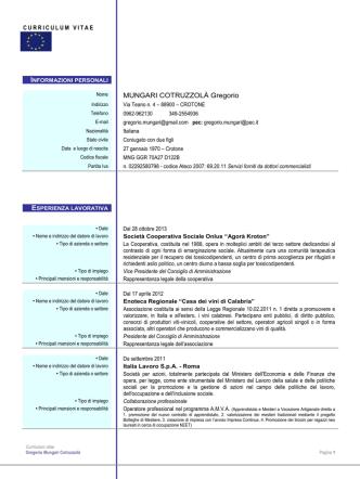 Curriculum Gregorio Mungari Cotruzzolà