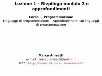 Approfondimenti sui linguaggi di programmazione