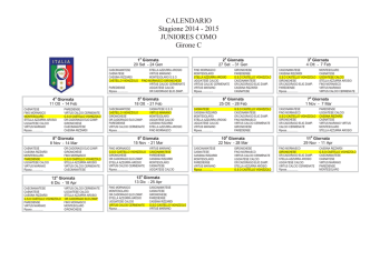 CALENDARIO Stagione 2014 - 2015 JUNIORES COMO Girone C