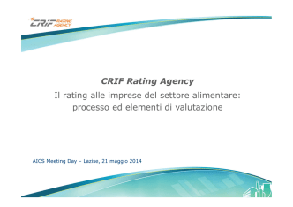 CRIF Rating Agency Il rating alle imprese del settore alimentare