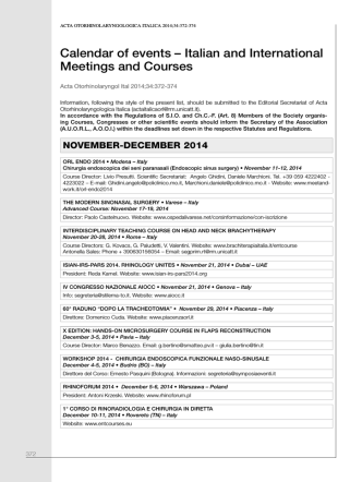 Calendar of events – Italian and International Meetings and Courses