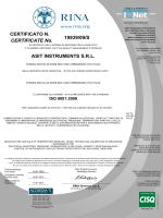 Certificato ISO - Centro di Taratura Accredia LAT n° 150