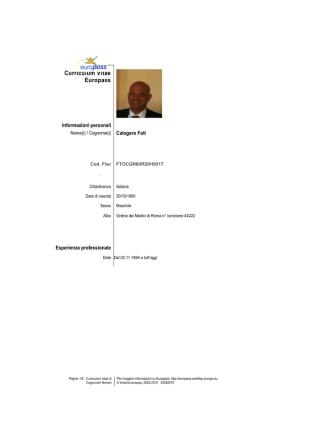 CV FORMATO EUROPEO Foti 062014