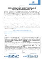 Supplemento alla Nota informativa e al Documento sul Regime
