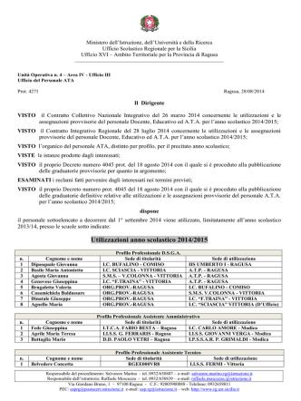Decreto utilizzazione personale ATA 2014 2015