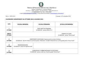 calendario adempimenti da ottobre 2014 a giugno 2015
