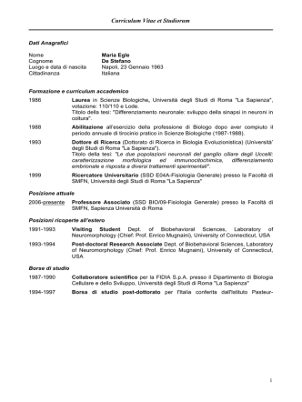 Curriculum Vitae et Studiorum - Dipartimento di Biologia e
