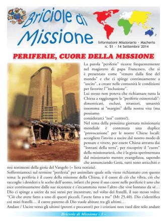 Briciole di Missione - Parrocchia e Oratorio Macherio