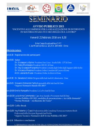 AVVISO PUBBLICO 2013 - Ente Cassa Scuola Edile CPT Enna