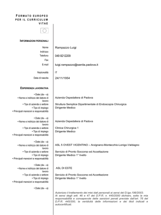 curriculum - Azienda Ospedaliera di Padova