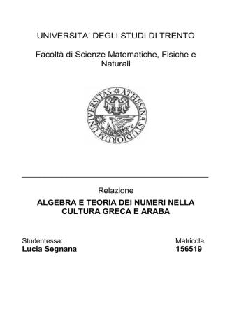 algebrateorianumeri - Università degli Studi di Trento