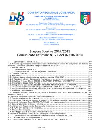 Comunicato Ufficiale N° 22 del 02/10/2014